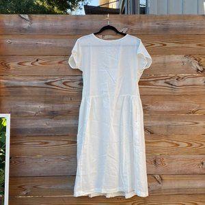 Cotton Linen Short Sleeve Gathered Dress